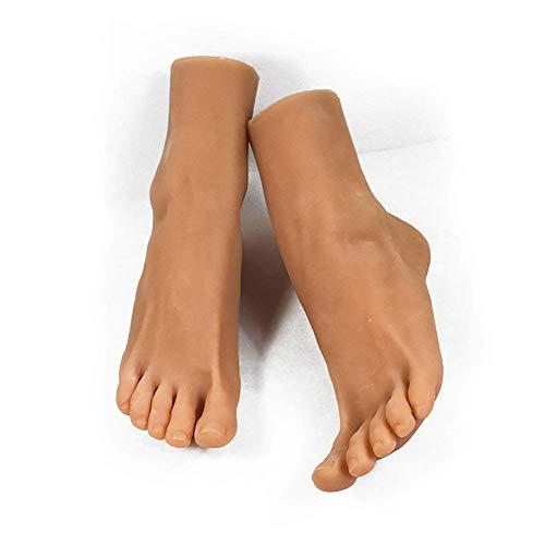 Lebensechte weibliche Fußschaufensterpuppe Simulation Silikon Bein Modell für Strümpfe Socken Fußkettchen Schuh Sandale Display Art Zeichnung Puppe, weizenfarben, rechts