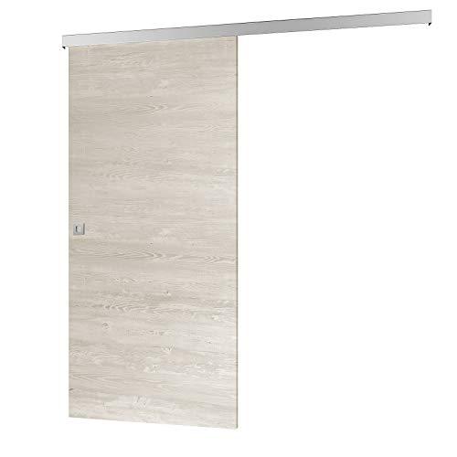 inova Holz-Schiebetür 880 x 2035 mm Pinie Cascina Alu Komplettset mit Lauf-Schiene und Quadratgriff