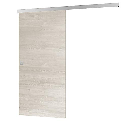 inova Holz-Schiebetür 880 x 2035 mm Pinie Cascina Alu Komplettset mit Lauf-Schiene und Quadratgriff inkl. Softclose