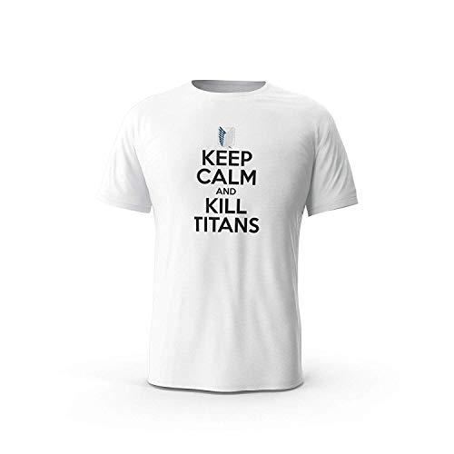 XCxBlAN Hombre Keep Calm and Kill Titans - Anime, Attack On Titan Impresión del patrón Blanco XXXX-Large