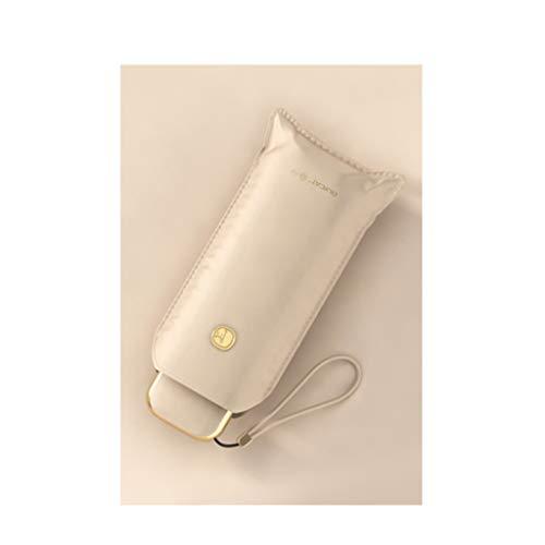 QIFFIY Mini Paraguas Pequeño y portátil Paraguas PROTECCIÓN DE Sol DE PROTECCIÓN UV Sol Y Sombrillas de Lluvia para Hombres y Mujeres (Color : Apricot White)