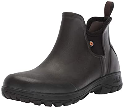 Bogs Men's Sauvie Slip On Low Height Chukka Waterproof Rain Boot, Dark Brown, 8 M
