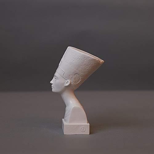 Nofretete Skulptur aus hochwertigem Zellan, echte Handarbeit Made in Germany, Büste in weiß, 15cm