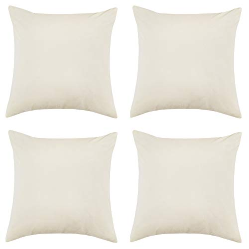 RENMEI Cream Cushion Cover en Velvet for Sofa 18x18 Inches 45cm x 45cm Smooth Soft Throw Pillowcases for Bedroom with Invisible Zipper Set of 4