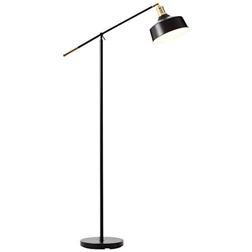 BRILLIANT lamp Sutherland vloerlamp 1-licht zwart mat/geborsteld messing |1x A60, E27, 40W, geschikt voor normale lampen (niet inbegrepen) |Schaal A ++ tot E |Met voetschakelaar