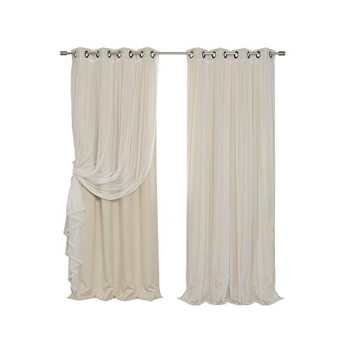 Best Home Fashion uMIXm Tulle Sheer Lace and Blackout 4 Piece Curtain Set Antique Bronze Grommet Top Beige 52' W x 84' L (2 Curtains and 2 Sheer Curtains)