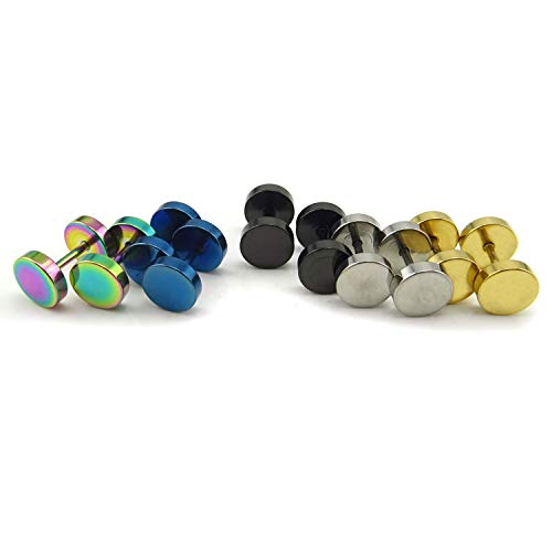 Honbay 5pairs Stainless Steel Unisex Men Women Barbell Stud Earrings Tunnel Punk Style Ear Piercing Plugs (8mm)