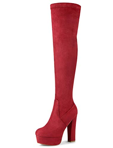 Allegra K Women's Platform Block Heel Over Knee High Boots Red 4.5 UK/Label Size 6.5 US