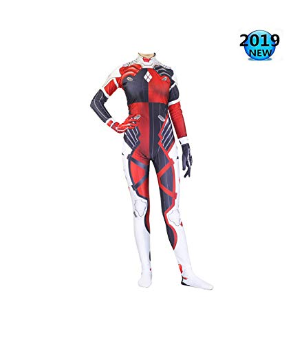Klassieke Harley Quinn Cosplay Role Play Set Horloge Pioneer Body Panty Halloween Onesies Thema Party Taille Movie Props M Rood