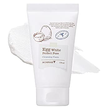 SKINFOOD Egg Perfect Pore Cleansing Foam 150ml - Egg Yolk Albumin Contained Pore Refining Facial Foam Cleanser - Removes Impurities from Pores- Give Light & Smooth Skin Feeling  5.07 fl.oz