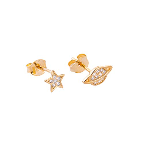 Yellow Gold Dipped Sterling Silver Star Planet Mix & Match Clear CZ Pave Stud Earrings