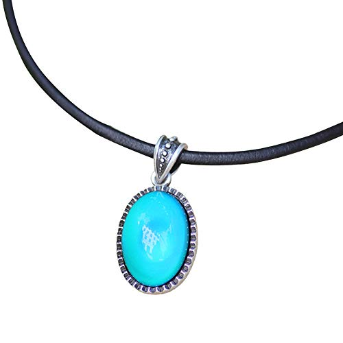 Magic Color Change Mood Stone in Antique Sterling Silver Finish Classic Oval Pendant Leather Necklace Mood Necklace