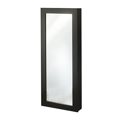 FirsTime & Co. Space Saver Mirrored Jewelry Armoire, Black