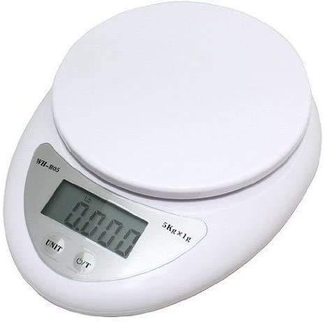 Auped Báscula electrónica de Cocina Digital para Alimentos Home 11lb / 5kg (1g) Báscula de gramo portátil Pesas ultradelgadas (LCD, 6,5 x 5 x 1,25) Color Blanco.