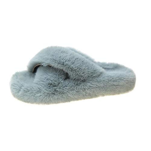 Zquest Zapatos de Piscina para niños, Pantuflas de Felpa para Uso Exterior, Pantuflas Cruzadas de algodón a Juego-Green_42