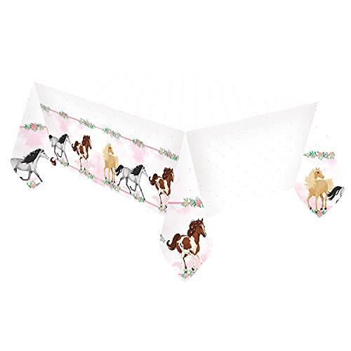 Amscan 9909877 - Plastik-Tischdecke Pferd, Größe 120 x 180 cm, weiß mit Pony-Bordüre, Tisch-Dekoration, Kinder-Geburtstag, Motto-Party