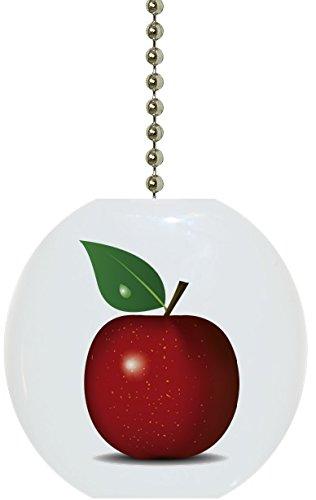 Carolina Hardware and Decor 1939F Single Apple Fruit Kitchen Solid Ceramic Fan Pull
