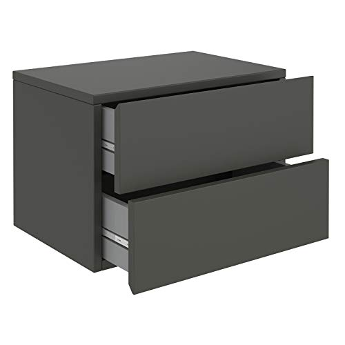 CARO-Möbel Nachtkommode ANNI Nachttisch Nachtschrank hängend Wandregal mit 2 Schubladen in grau anthrazit