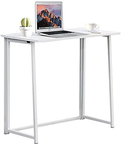 tavolo pieghevole 90 Radelldar Scrivania Pieghevole Salvaspazio Bianco Scrivanie Computer Laptop Tavolo Pieghevole Tavolo da Studio Ufficio Postazioni di Lavoro in Acciaio Legno