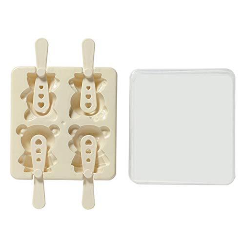 Planuuik Mooie karikatuur-beer-patroon crème-vorm 4 gats-bakjes Sicle fabrikant-keuken DIY-gereedschap