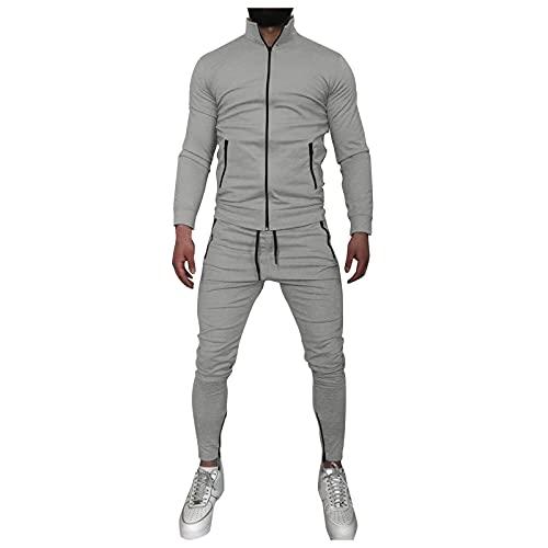 URIBAKY - Conjunto de pantalones de manga larga con cremallera para hombre, transpirable, ligero, cómodo para correr, gris, L