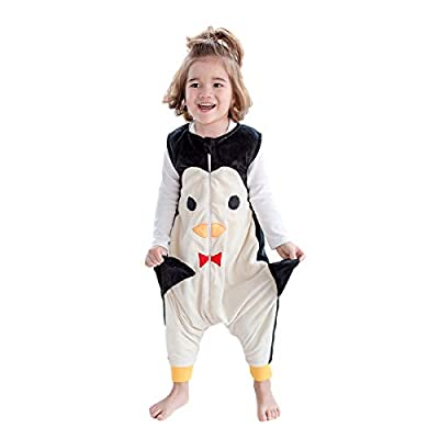 JunNeng Baby Unisex Fleece Sleeveless Sleep Bag with Feet Kids Cartoon Onesie Pajamas Wearable Blankets