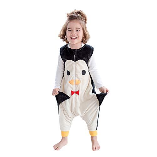 JunNeng Baby Unisex Fleece Sleeveless Sleep Bag with Feet Kids Cartoon Onesie Pajamas Wearable Blankets (Black Penguin, S/1-2 Years)