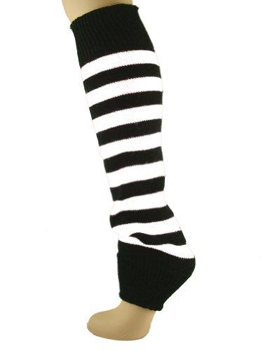 Mysocks Beinwärmer Streifen weiß schwarz
