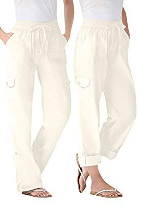 Woman Within Women's Plus Size Convertible Length Cargo Pant - 22 W, Natural Khaki