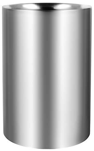 com-four® Flaschenkühler - Sektkühler - Eiswürfelkühler aus Edelstahl, Weinkühler - Eiswürfelkübel doppelwandig in Matt 10 cm Innendurchmesser (01 Stück - Weinkühler)