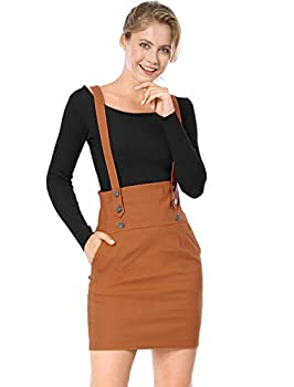 Allegra K Women s High Waist Straight Braces Suspender Skirt Medium Brown