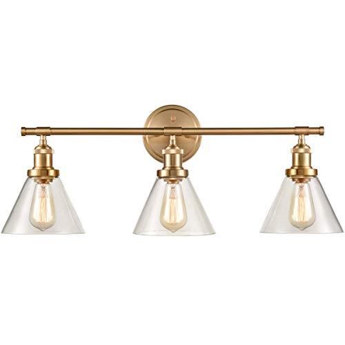 YZ-YUAN Luces de Espejo Vintage de 3 Luces, iluminación Moderna de Aplique de Pared, Acabado de latón Antiguo con Pantalla de Vidrio de Cono E27 Iluminación de Pared montada en la Pared para baño