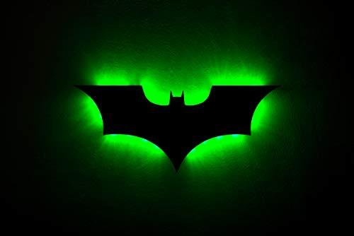 QJSY LED Applique Murale avec Télécommande Batman Coloré Projection Veilleuse pour Chambre KTV Couloir Fond Décoration Murale Éclairage (Battery)