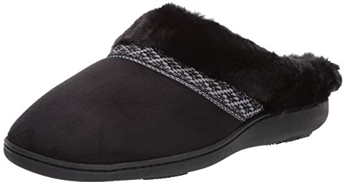 Isotoner Women's Basil Slippers, Memory Foam House Shoe, Indoor/Outdoor Sole, black, Large / 8-9 US