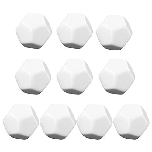 MSEKKO Dados 10 Uds D12 22mm Dados de Color Blanco en Blanco de 12 Caras se Pueden Escribir con rotulador para Accesorios de Juegos de Mesa