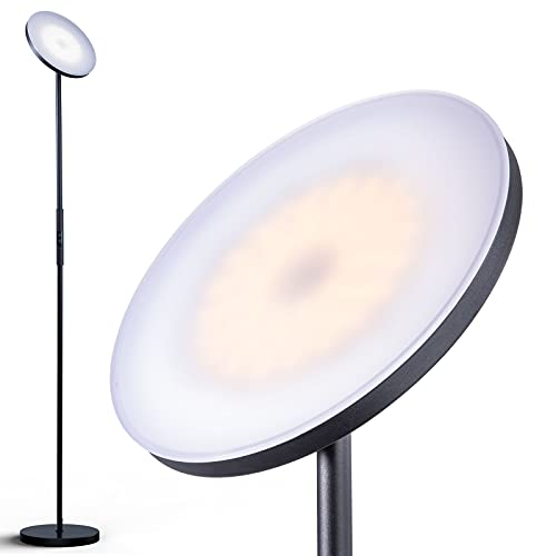 addlon - LED Torchiere Floor Lamp, with Stepless Dimming, 3000K Warm White Light, Memory Function, Tall Standing Modern Lamp Pole Lamp for Living Room & Office - Classic Black