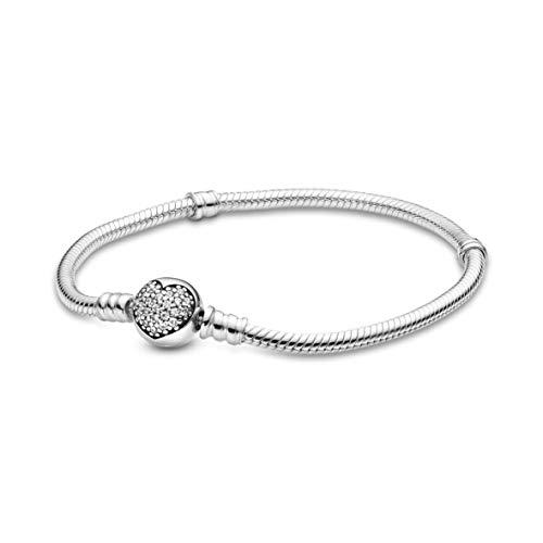 Pandora Jewelry Sparkling Heart Cubic Zirconia Bracelet in Sterling Silver, 8.3'