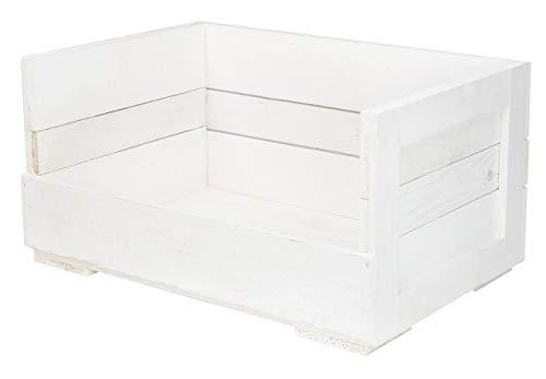 Obstkisten-online 1x weiße HOLZKISTE inklusive grauem Stoffbett - NEU - 60x40x30cm - Katzensofa, personalisierbar Dank Lackierung mit Tafelfarbe