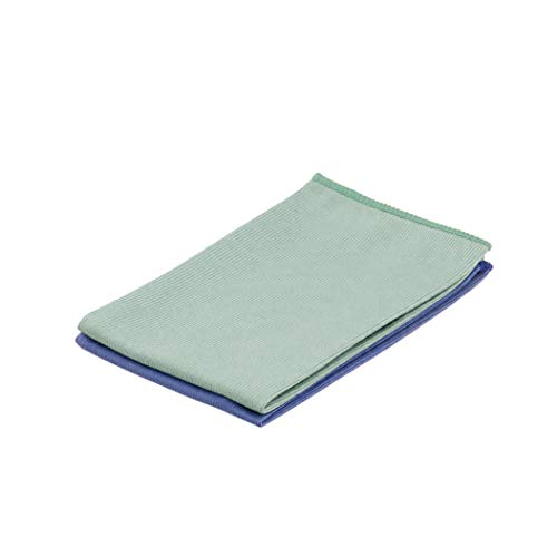 Superio Microfiber Glass And Mirror Cleaning Cloths, Pack of 2 14x16 Inch Large Blue / Green