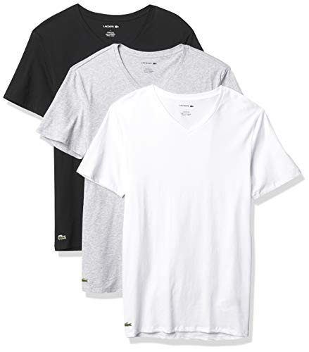Lacoste Underwear Men's Essentials 3 Pack 100% Cotton Slim Fit V-Neck T-Shirts, White/Silver Chineblack, L