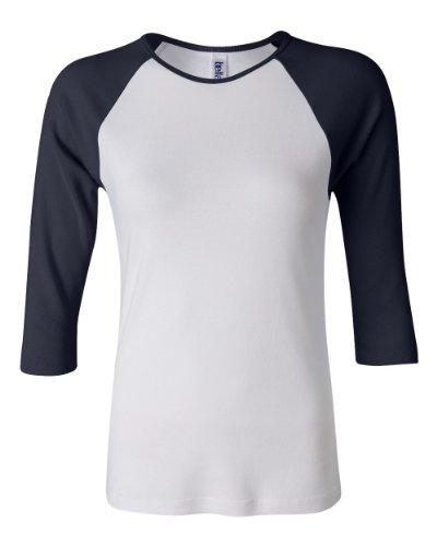 Baseball-Shirt mit 3/4-Ärmel - Farbe: White/Navy - Größe: M