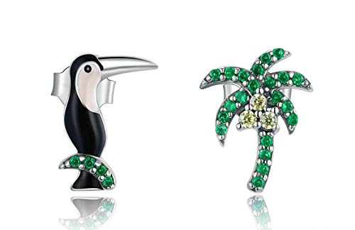 Genuine 925 Sterling Silver Asymmetric Toucans and Coconut Tree Stud Earrings for Women Girl Anti-allergy Jewelry