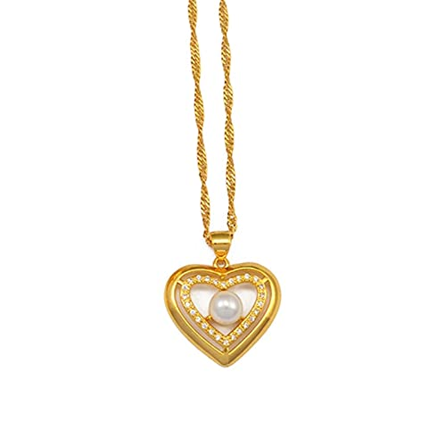 Cruz de circón, collar de corazón de flor de perla hawaiana, cadena colgante de mariposa, joyería de lujo de Color dorado, África