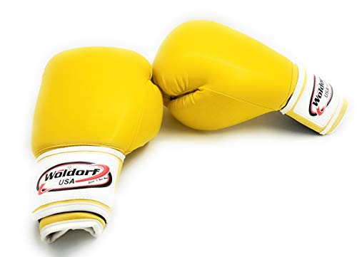 Woldorf USA Men and Women Leather Boxing Bag Gloves - Perfect for Punching Heavy Bag, Sparring, Cardio Kickboxing Gloves, and Best for Muay Thai Training - Vinyl 16oz Yellow