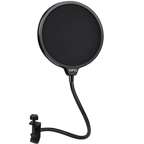 YOTTO Microphone Pop Filter Studio Windscreen Mic Cover Mask Shield with Flexible Gooseneck and Clamp for Blue Yeti, Audio Technica and All Microphones
