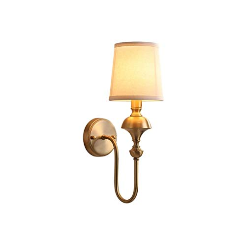 GYZLZZB Lámpara de pared LED de tela de latón E14 Aplique de pared, Lámparas de mesita de noche de dormitorio, sala de estar, balcón, decoración de pared Parelle, Hotel Restaurant Cafe Aisle Stairc
