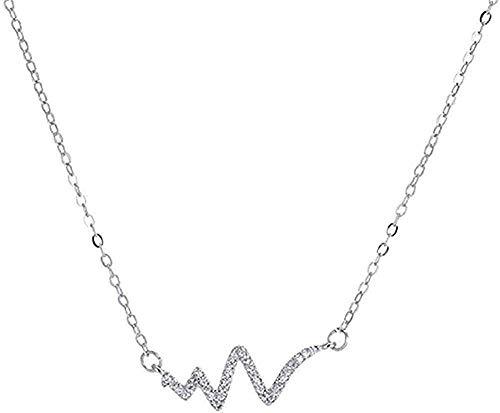 Yiffshunl Collar con Colgante de cardiograma Salvaje de Color Plateado para Mujer, joyería, cumpleaños para Mujeres y niñas, Regalos
