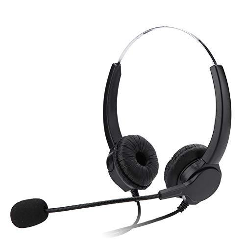 FOLOSAFENAR Cómodo y súper Ligero Auricular telefónico Ajustable PU para Centro de Llamadas con cancelación de Ruido, para Negocios, para Llamadas de Red VOIP, para PC, para Oficina