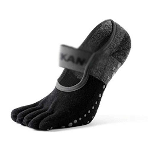ZNBJJWCP 10 pares de calcetines de yoga para mujer, suela de rizo antideslizante, 5 dedos, marca de danza, pilates, ballet y yoga (color negro)