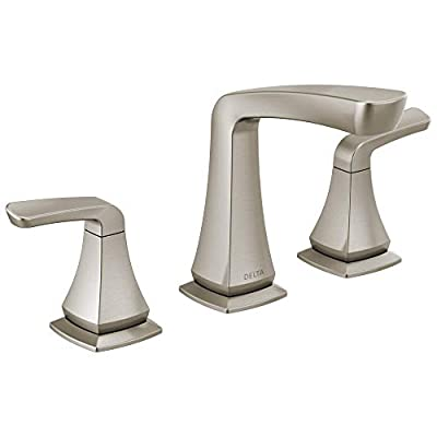 Delta Faucet Vesna Widespread Bathroom Faucet Brushed Nickel, Bathroom Faucet 3 Hole, Drain Assembly, Worry-Free Drain Catch, SpotShield Brushed Nickel 35789LF-SP